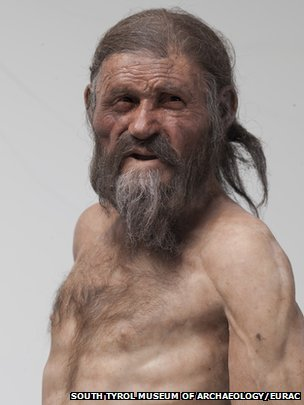 A reconstruction shows how Otzi the Iceman may have looked like before an arrow felled him