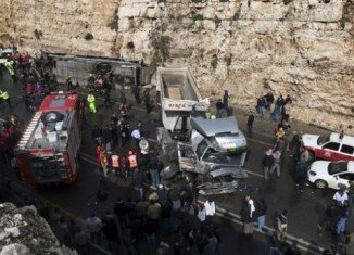 At least eight Palestinian children have been killed in a collision between a school bus and an Israeli lorry on a road in the West Bank