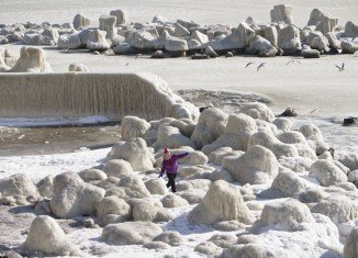 Black Sea is frozen near the Romanian coastline