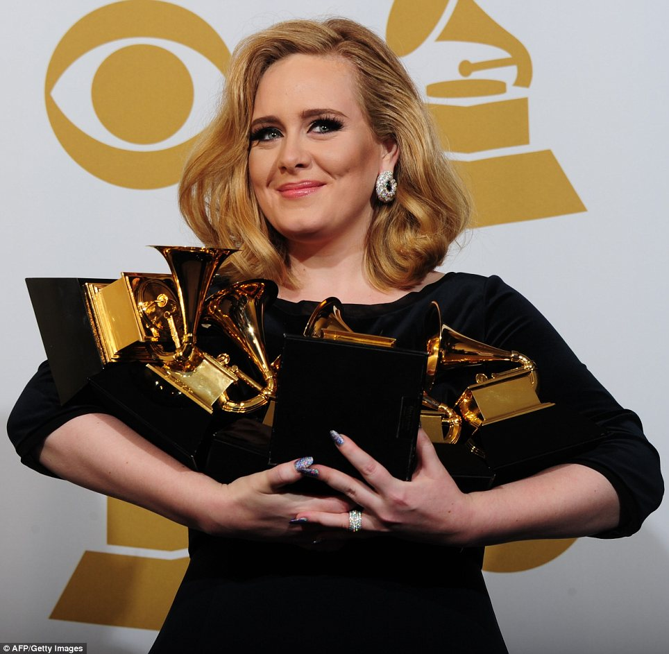 British singer Adele was the big winner at the Grammy Awards 2012 in Los Angeles, winning six prizes including record, song and album of the year