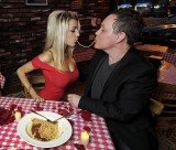 Courtney Stodden and Doug Hutchinson sharing a strand of spaghetti as they recreated a scene from Lady and the Tramp on their first Valentine's Day as a married couple
