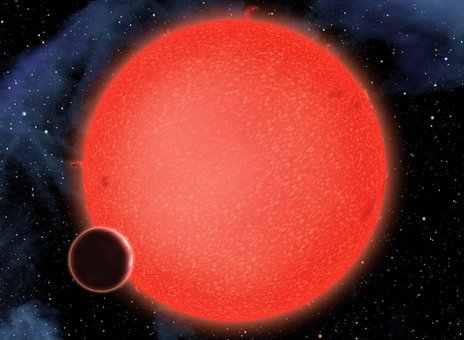 "Exoplanet GJ 1214b so called Super Earth"" is bigger than our planet but smaller than gas giants such as Jupiter photo"