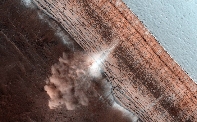 Images of an avalanche of fine ice and dust thundering over a cliff near Marss north pole have been captured by a high resolution camera from a NASA spacecraft photo