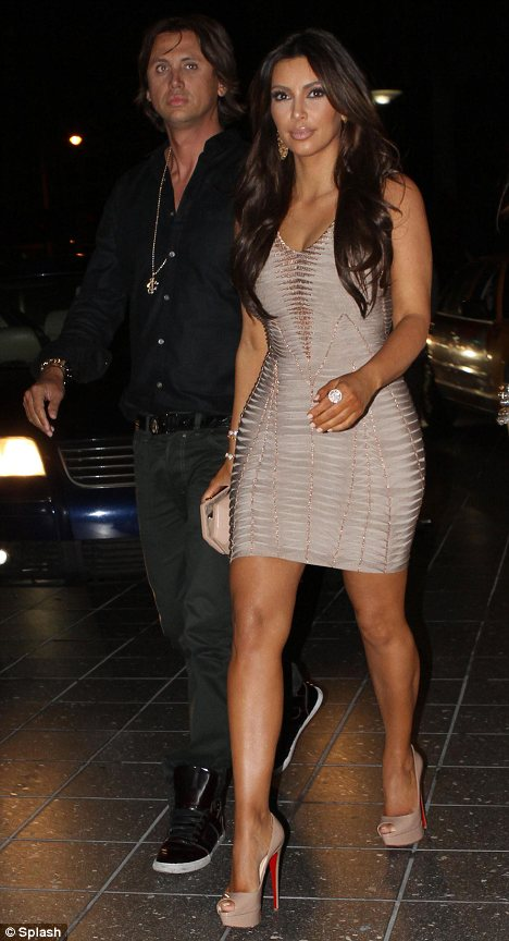 Kim Kardashian stepped out for dinner at Zuma in Miami with her best friend Jonathan Cheban by her side