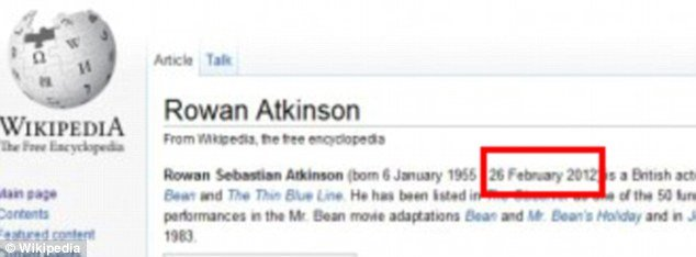 Mr. Bean star's death hoax even briefly fooled Wikipedia which displayed Rowan Atkinson's date of death as 26 February 2012 on his entry page photo