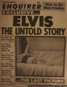 National Enquirer ran similar open casket shots of Elvis Presley after the King of Rock died in 1977 photo