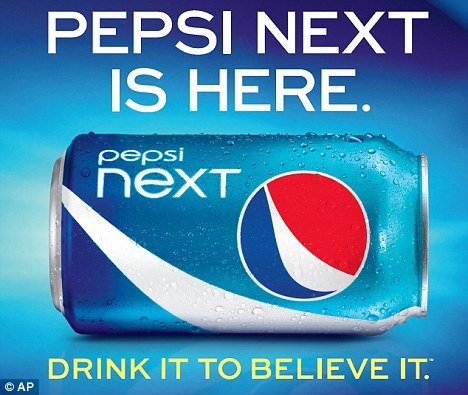 Pepsi Next is made with a mix of three artificial sweeteners and high fructose corn syrup
