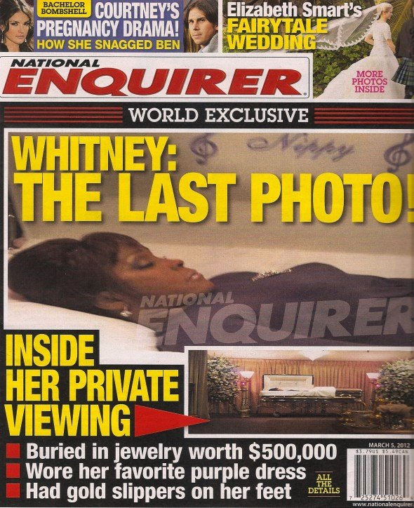 Picture of dead Whitney Houston in the coffin published by National Enquirer1 photo