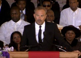 The Bodyguard co-star Kevin Costner got up to share memories of his time with his beloved friend Whitney Houston