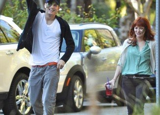 Ashton Kutcher was spotted out with his rumored new love Lorene Scafaria yesterday in Los Angeles