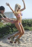 Courtney Stodden stripped down to bikini and set off on a pair of roller skates in Los Angeles