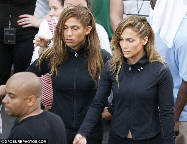 Jennifer Lopez was seen on the set of her music video Follow The Leader yesterday in Mexico, alongside her male stunt double