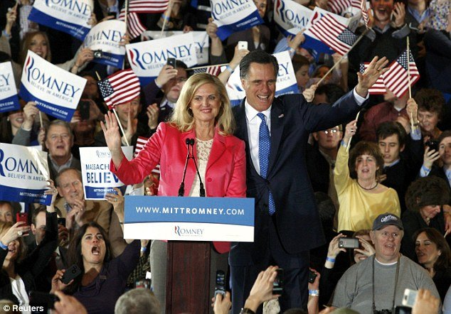 Mitt Romney and his wife Ann at their Super Tuesday primary rally in Boston photo