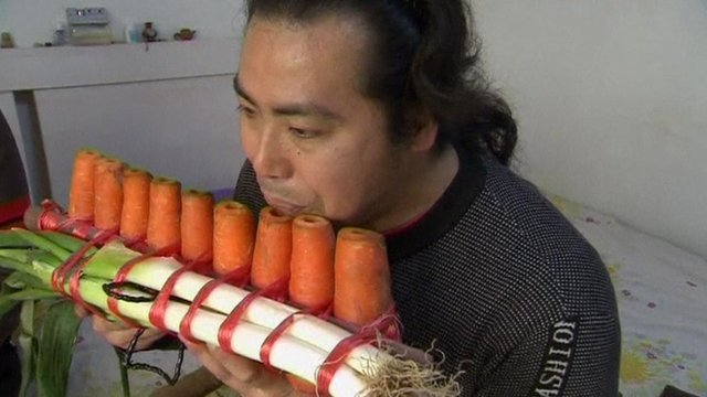 Nan Weidong and Nan Weiping have been making playable flutes with everything from leeks to carrots photo
