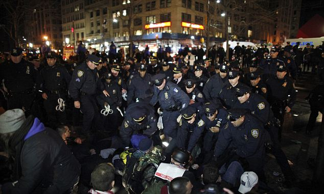 New York police cleared Zuccotti Park where the Occupy Wall Street movement was born six months ago and made several arrests