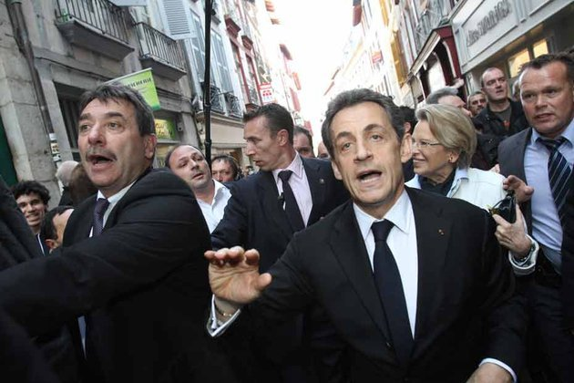 Nicolas Sarkozy has been booed by hundreds of angry protesters in Bayonne as he campaigned in the Basque country ahead of Aprils presidential election photo