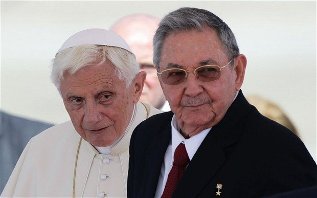 President Raul Castro said Cuba shared the Pope Benedict's concerns over global poverty, inequality and environmental destruction