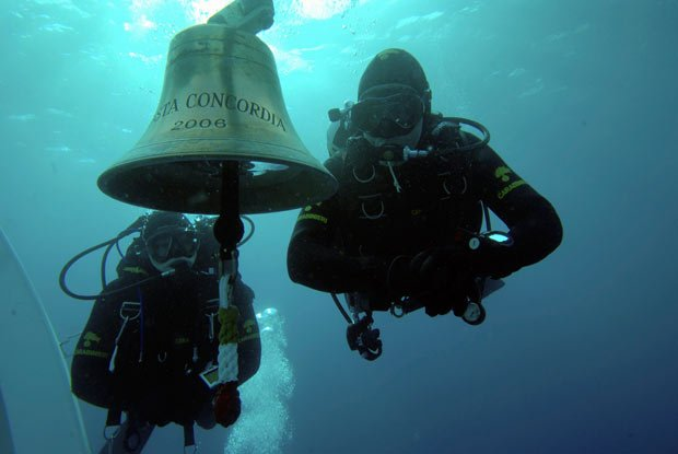The images of the Costa Concordia's bell, taken underwater by divers soon after the vessel sank, became a well-known image associated with the disaster