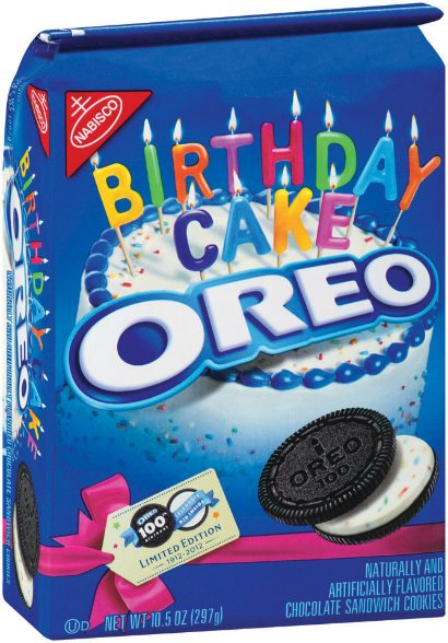 "To mark the cookie's centenary, Nabisco released a limited edition of ""Birthday Cake"" Oreo"