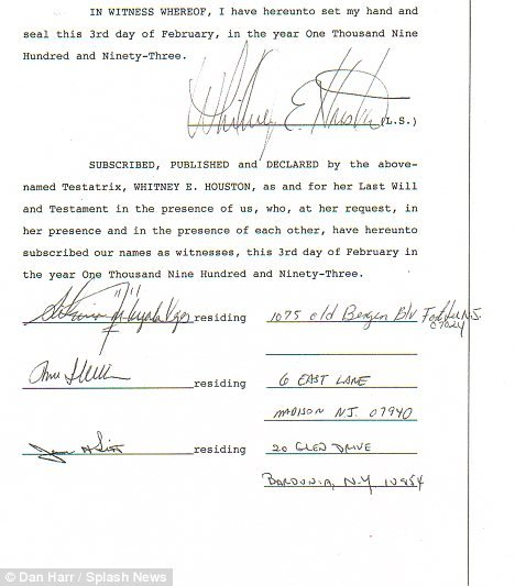 Whitney Houston's last will and testament third page