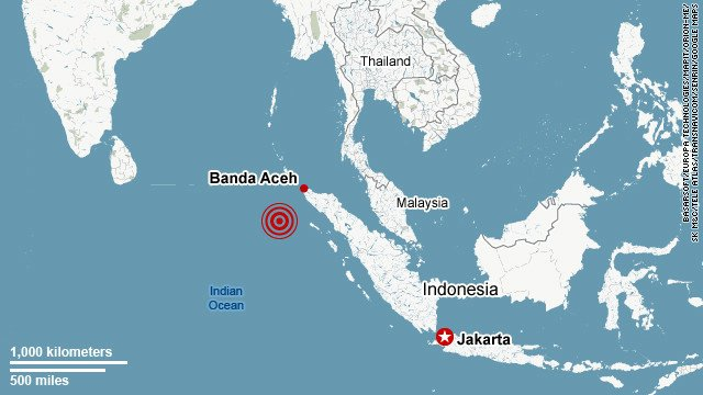 A major earthquake with an initial magnitude of 8.9 has hit under the sea off Indonesia's northern Aceh province
