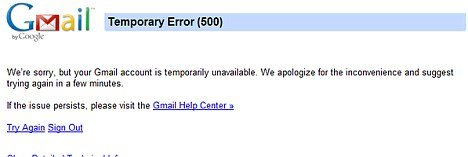 After signing into a Gmail account, users were seeing an error message that read, Temporary Error 500