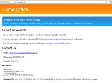 Anonymous hacking group is alleged to have disrupted access to the UK Home Office website photo