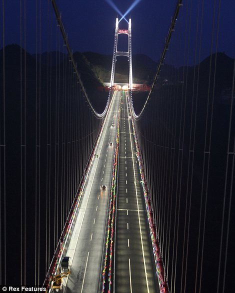 At 1,102 ft up and 3,858 ft across the ambitious Aizhai suspension bridge has become the highest and longest in the world