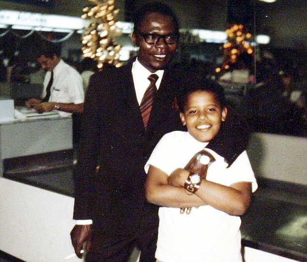 Barack Obama and his father in 1971 photo