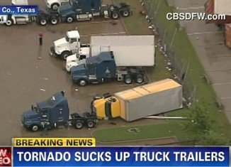Dallas tornado tosses trucks across the skies as dangerous twister targets Texas