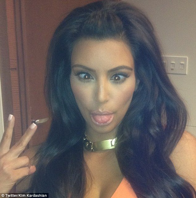 During The Kardashian Kollection launch at the Woodfield Mall in Schaumburg, Kim Kardashian posted several pictures of herself, including one of her pulling faces for the camera