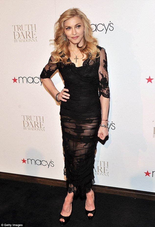 Madonna launched her new fragrance Truth or Dare at Macy's in New York