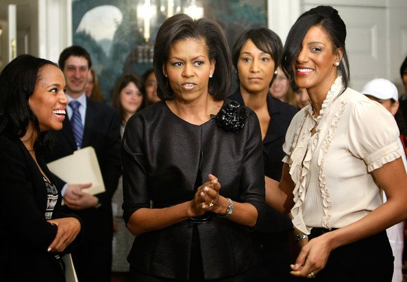 "Michelle Obama has allegedly banned Kerry Washington (left) from the White House for being ""too flirty"" with Barack Obama"
