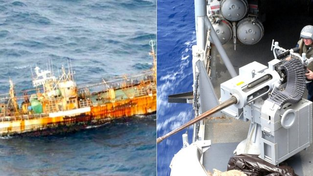 The US Coast Guard has used cannon to sink the Japanese ghost ship that drifted to Alaska after the 2011 tsunami