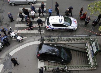 The confused driver has ended up trapping his car on the steps of Chaussee d'Antin-La Fayette metro station in Paris