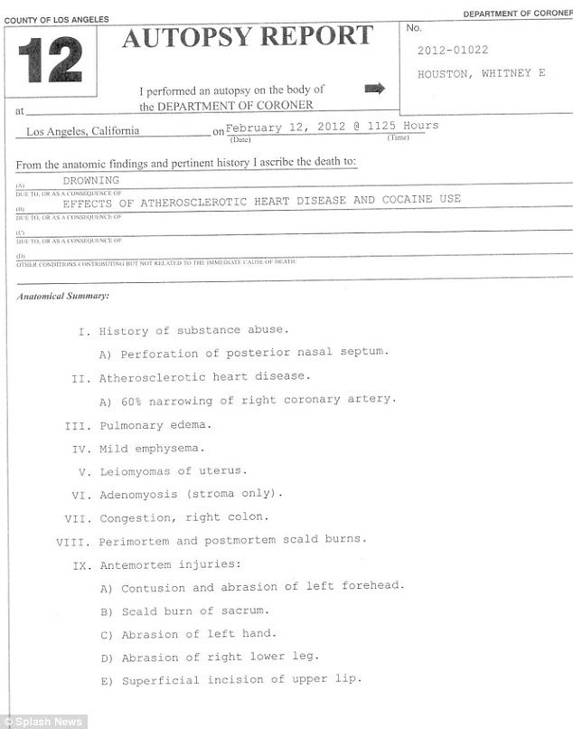 Whitney Houston autopsy report Page1