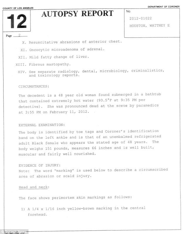 Whitney Houston autopsy report Page2
