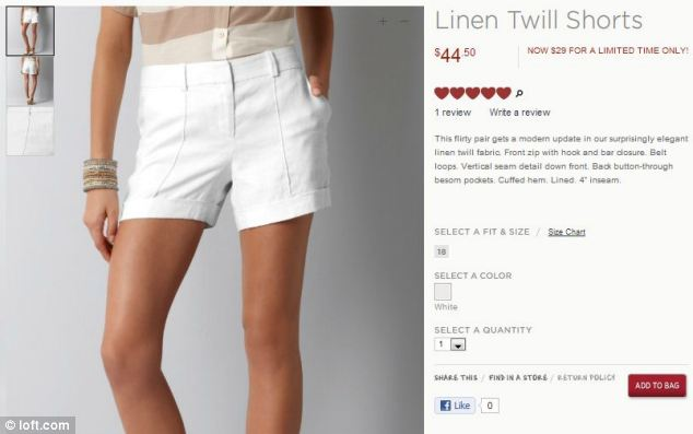 Advertising the brands Linen Twill Shorts the model appears to have a jarring thumb popping straight out of her wrist with the rest of her hand in the front pocket photo
