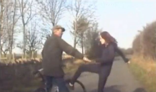 British police has released the footage of an irate woman that has been captured on camera chasing after and scuffling with a cyclist in a country lane