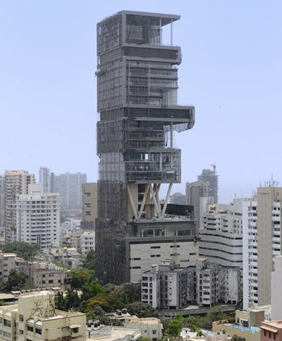 Built by India's richest man Mukesh Ambani, 27-storey Antilia building towers over swanky Altamount Road in Mumbai