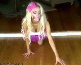 Courtney Stodden films a rather odd homage to Hello Kitty, crawling around on all fours, purring, eating from a bowl and even coughing up a fur ball