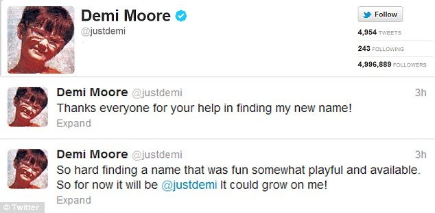 Demi Moore has finally dropped Ashton Kutcher's name on Twitter as she changed Mrs. Kutcher to @justdemi