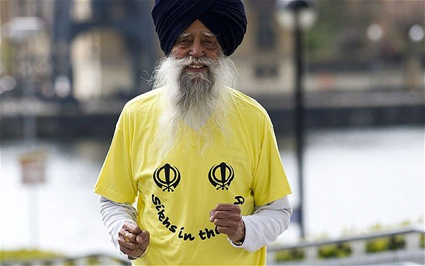 Fauja Singh the worlds oldest marathon runner is set to join more than 27000 people taking part in the 10th Edinburgh Marathon Festival photo