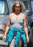 Goldie Hawn opted to go without any support as she went for a jog in Brentwood yesterday