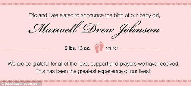 Jessica Simpson today welcomed baby Maxwell Drew Johnson into the world, announcing the happy news via a banner on her official website