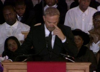 Kevin Costner says he was still writing the memorial speech he delivered Whitney Houston's funeral an hour before she was laid to rest in her native New Jersey