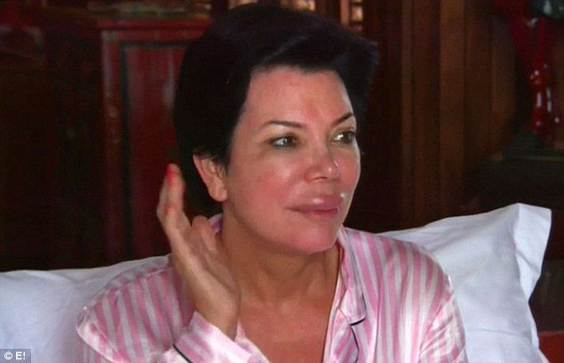 Kris Jenner is seen looking shocked as she wakes up in her bed with a much bigger top lip