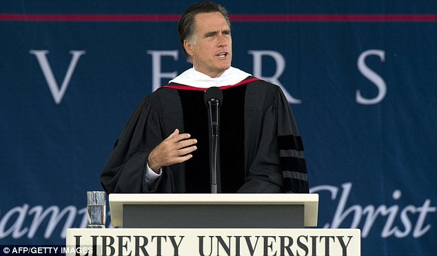 "Mitt Romney told the Liberty University commencement that marriage is an ""enduring"" institution that's reserved for one man and one woman"