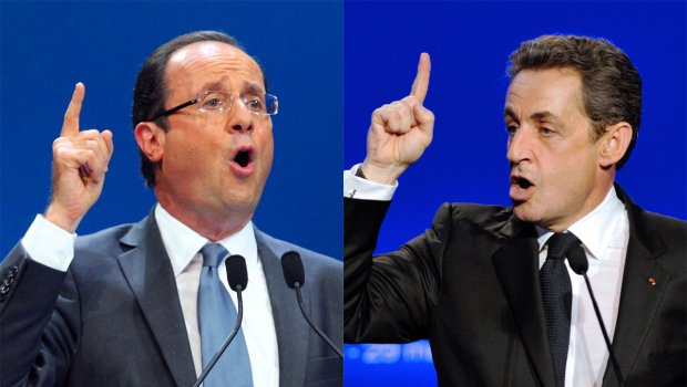 """Nicolas Sarkozy says he averted recession and will preserve a """"strong France"""" while Francois Hollande contends the country is in """"serious crisis"""" and needs change"""