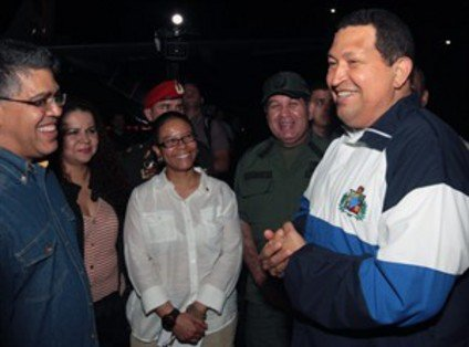 President Hugo Chavez is back to Venezuela coming from Cuba where he has successfully completed a court of radiotherapy for cancer photo